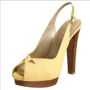 Yellow Peep toe platform sling backs